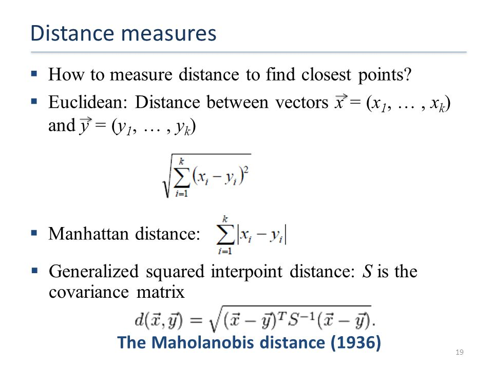 The Maholanobis distance (1936)
