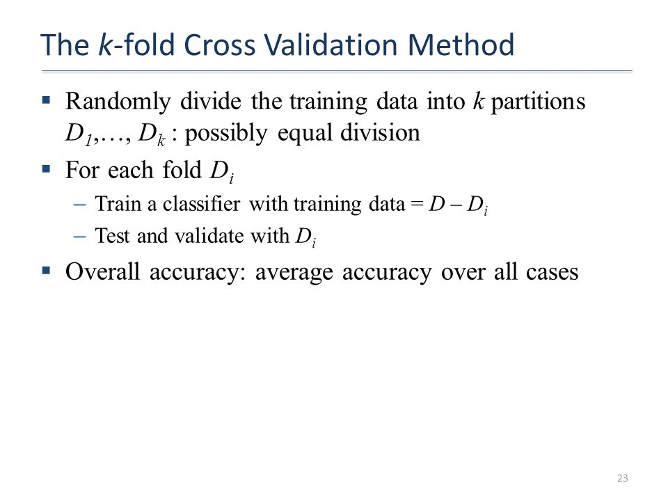 The k-fold Cross Validation Method