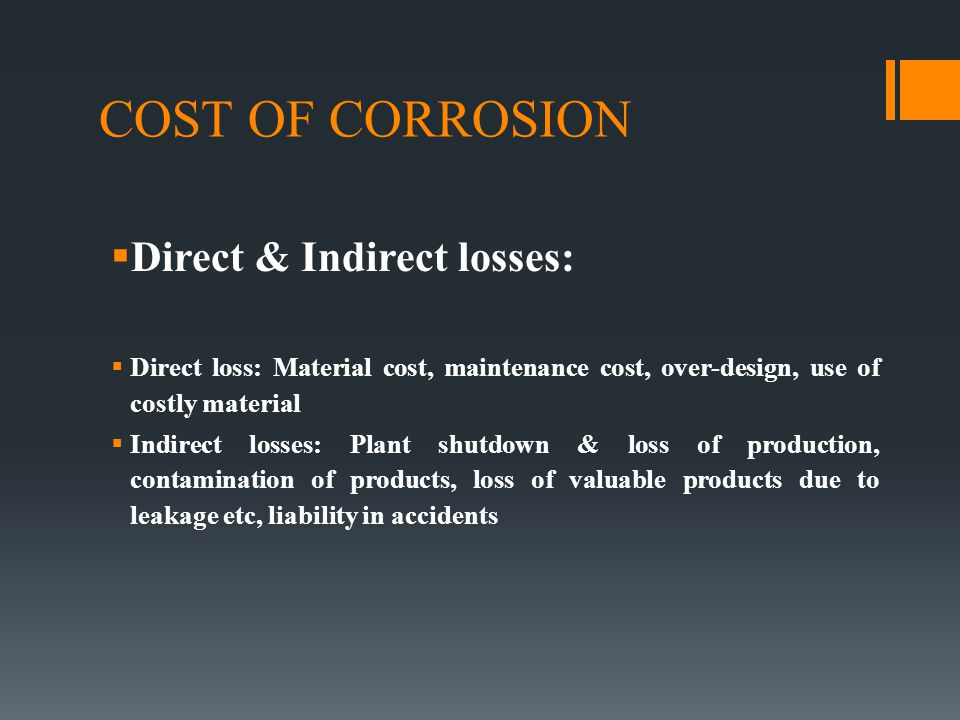 COST OF CORROSION Direct & Indirect losses:
