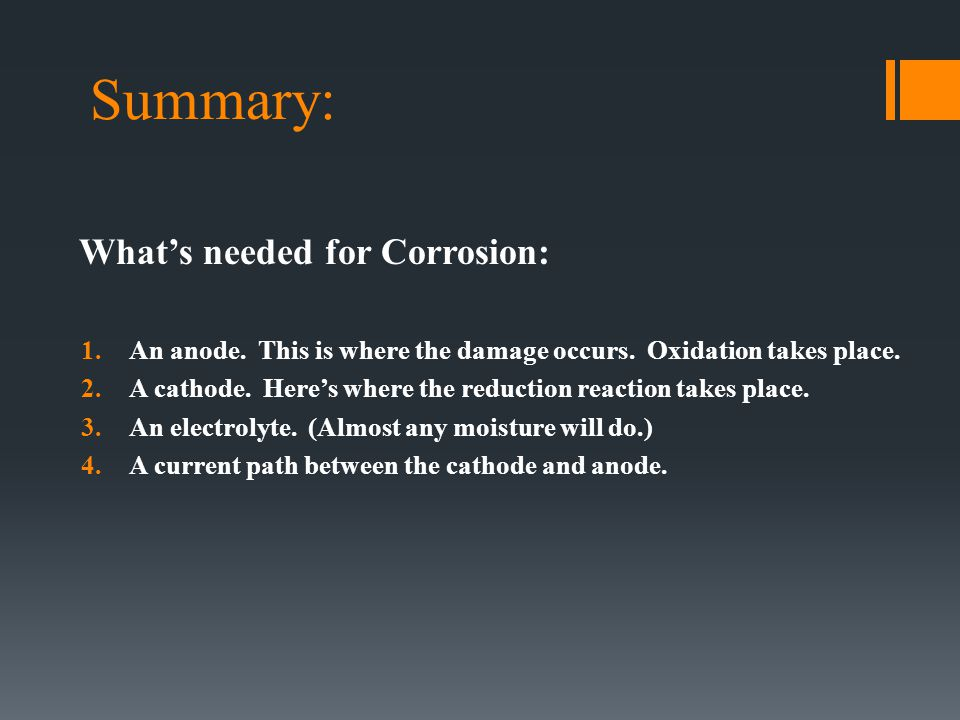 Summary: What's needed for Corrosion: