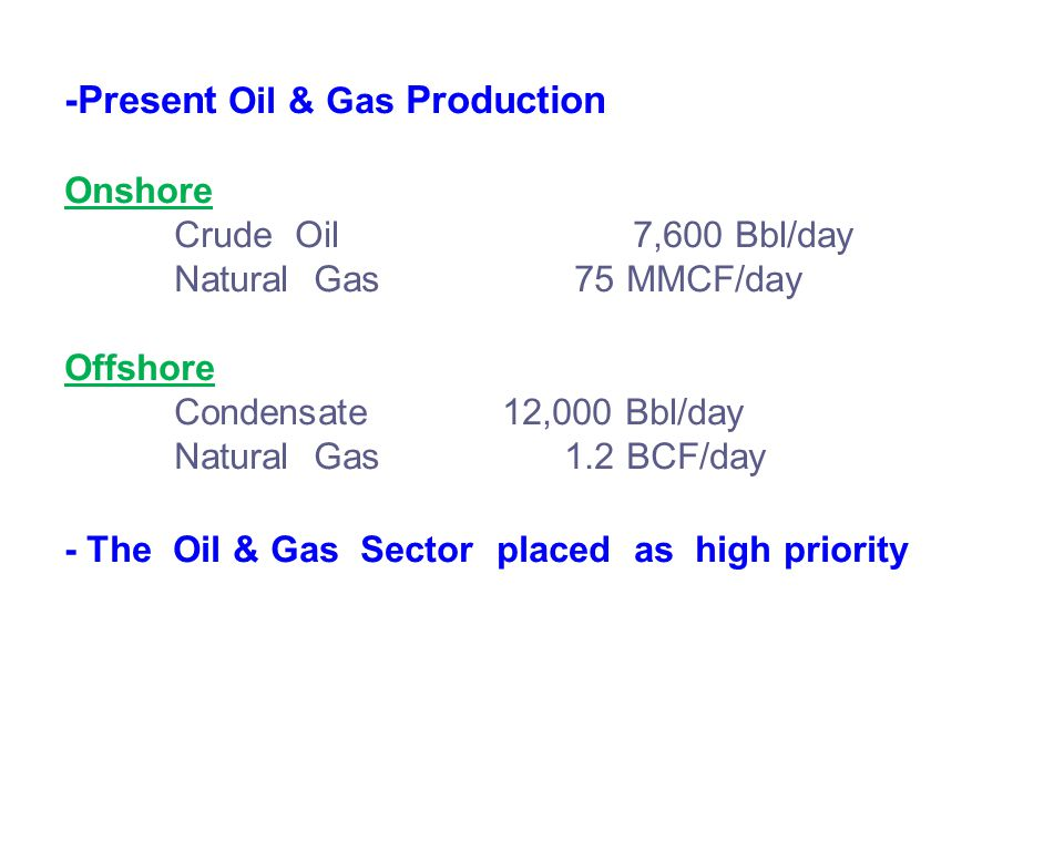 -Present Oil & Gas Production