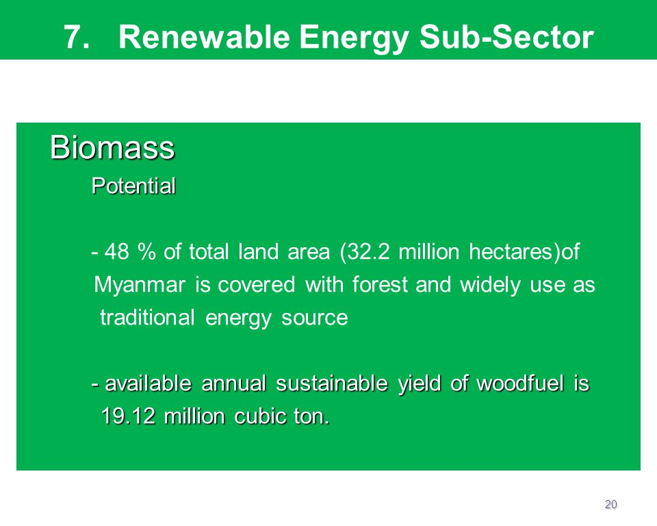 7. Renewable Energy Sub-Sector