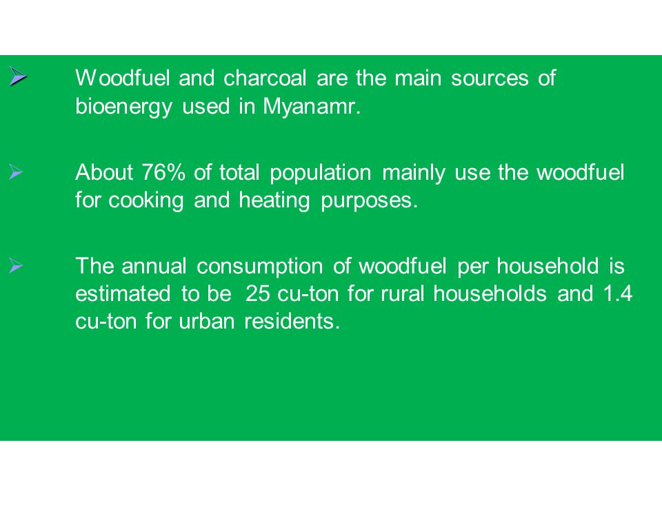 Woodfuel and charcoal are the main sources of