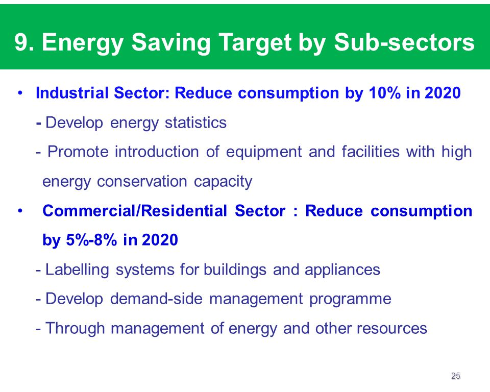 9. Energy Saving Target by Sub-sectors