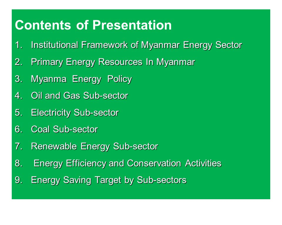 Contents of Presentation 1