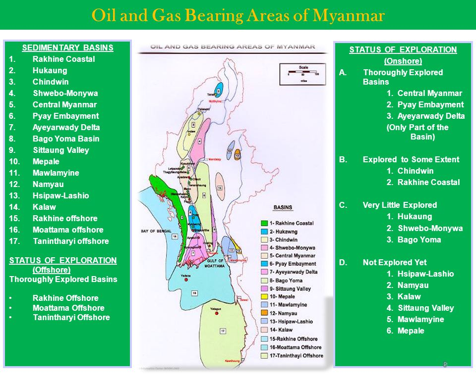 Oil and Gas Bearing Areas of Myanmar