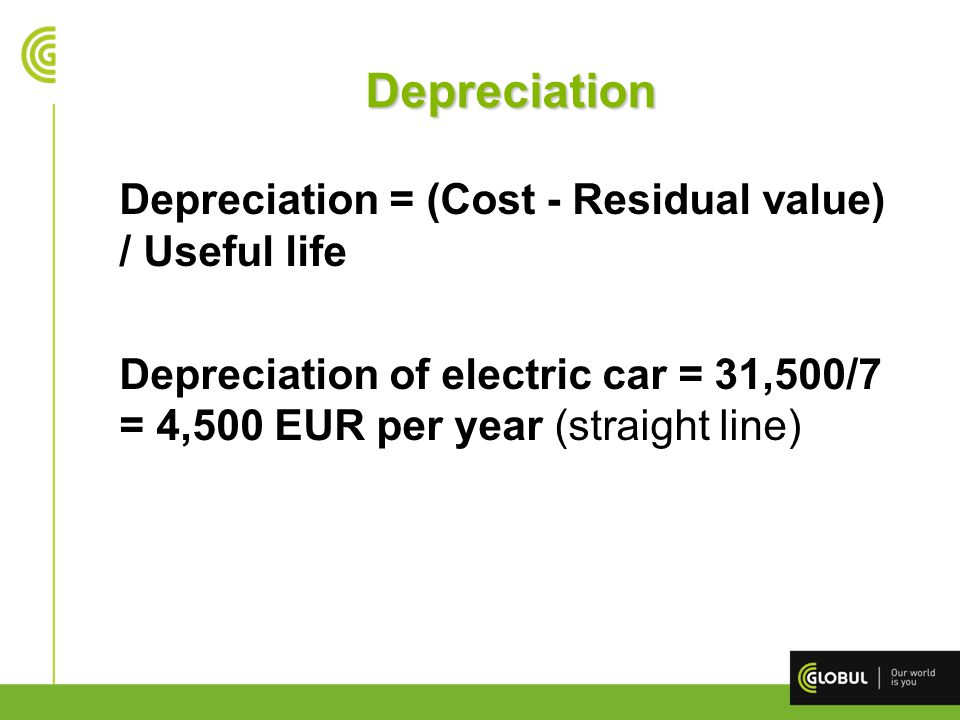 Depreciation Depreciation = (Cost - Residual value) / Useful life Depreciation of electric car = 31,500/7 = 4,500 EUR per year (straight line)