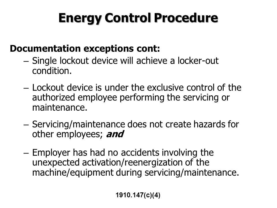 Energy Control Procedure