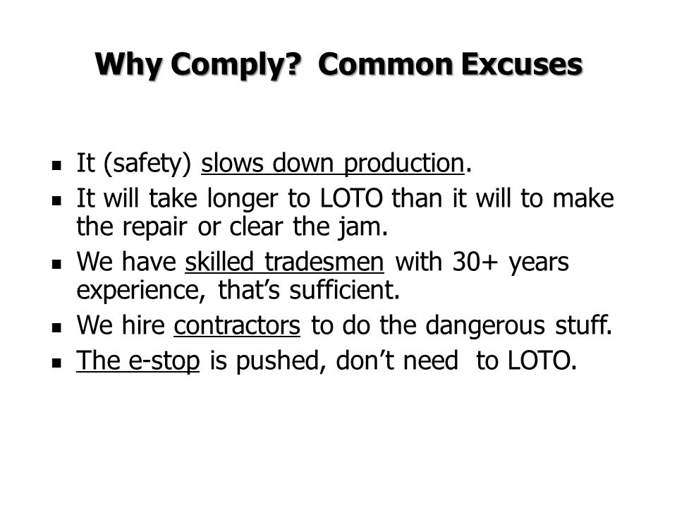 Why Comply Common Excuses