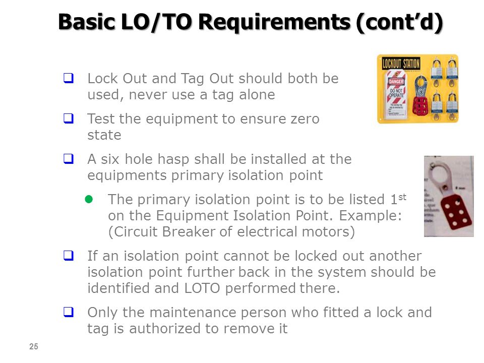 Basic LO/TO Requirements (cont'd)