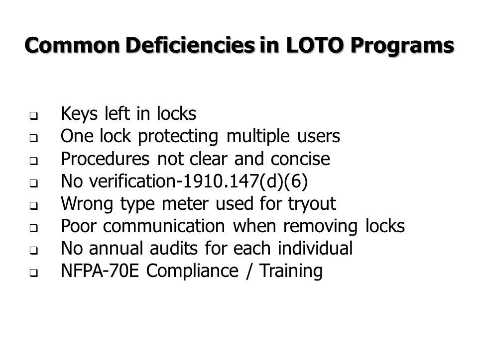 Common Deficiencies in LOTO Programs