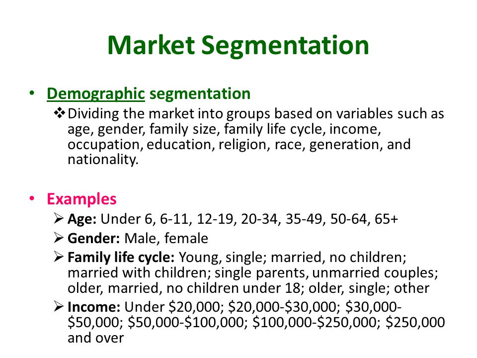 Market Segmentation Demographic segmentation Examples
