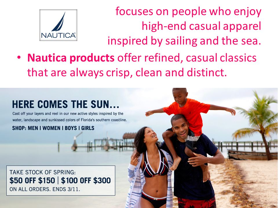 focuses on people who enjoy high-end casual apparel inspired by sailing and the sea.