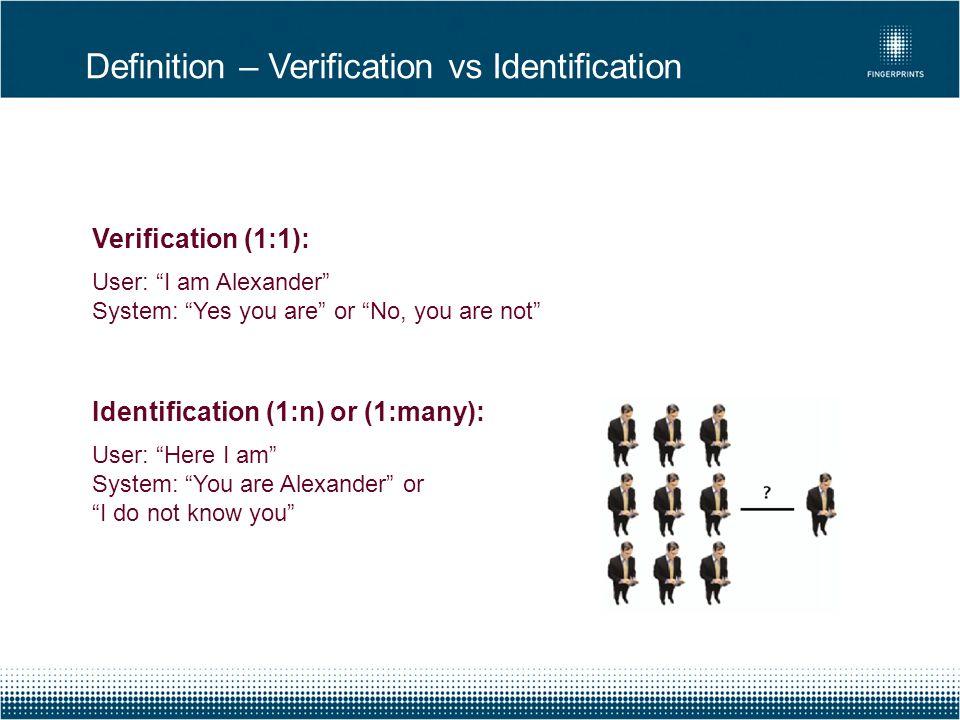 Definition – Verification vs Identification