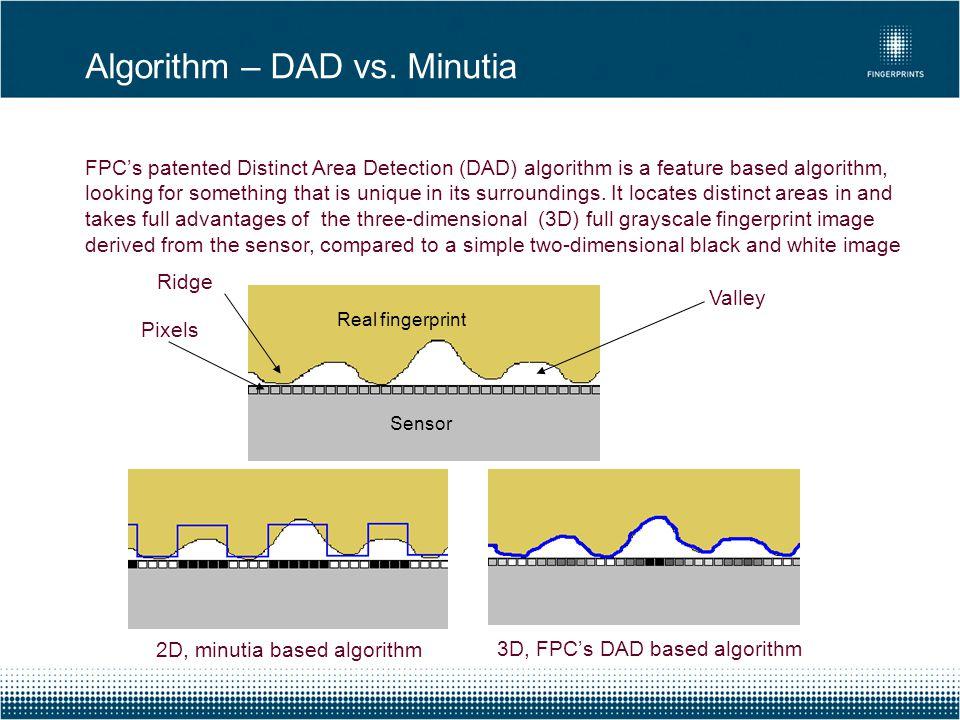 Algorithm – DAD vs. Minutia