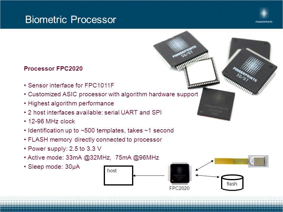 Biometric Processor Processor FPC2020 Sensor interface for FPC1011F