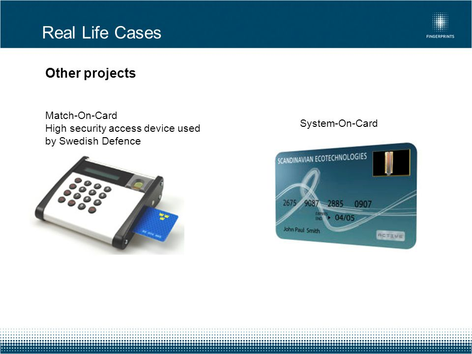 Real Life Cases Other projects Match-On-Card