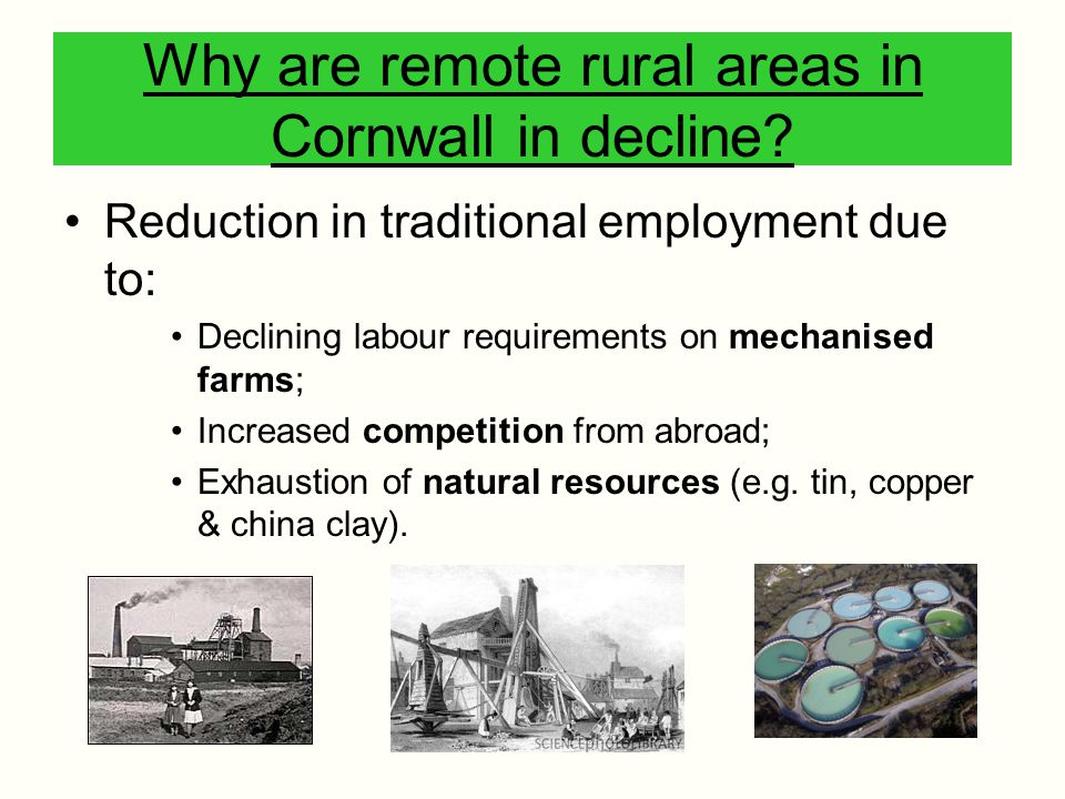 Why are remote rural areas in Cornwall in decline