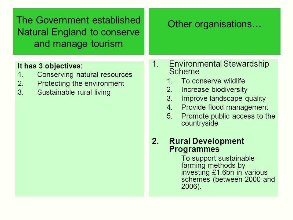 The Government established Natural England to conserve and manage tourism
