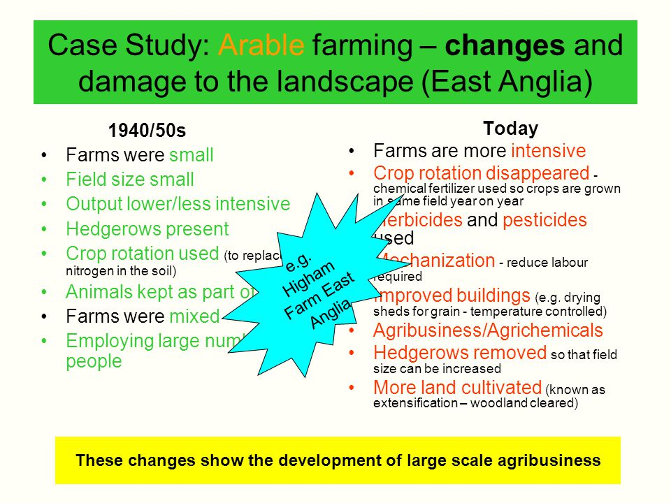 These changes show the development of large scale agribusiness