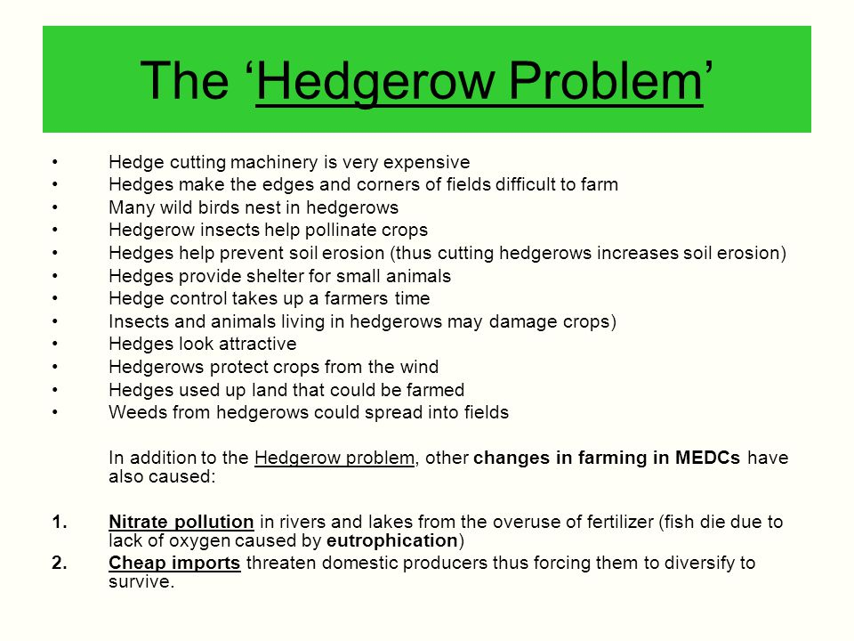 The 'Hedgerow Problem'