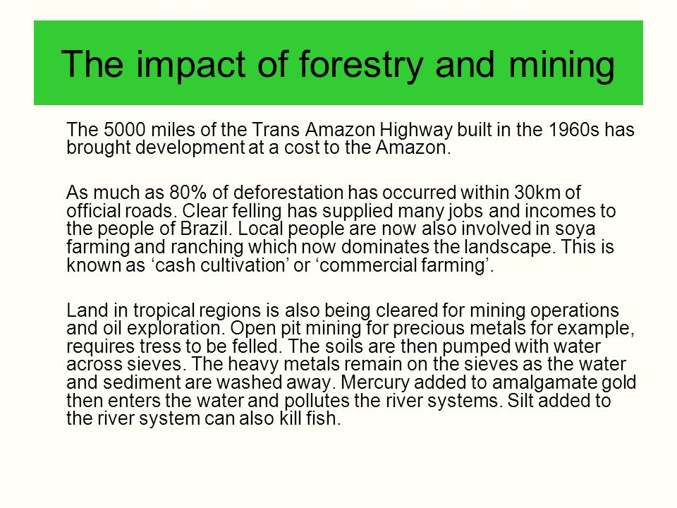 The impact of forestry and mining