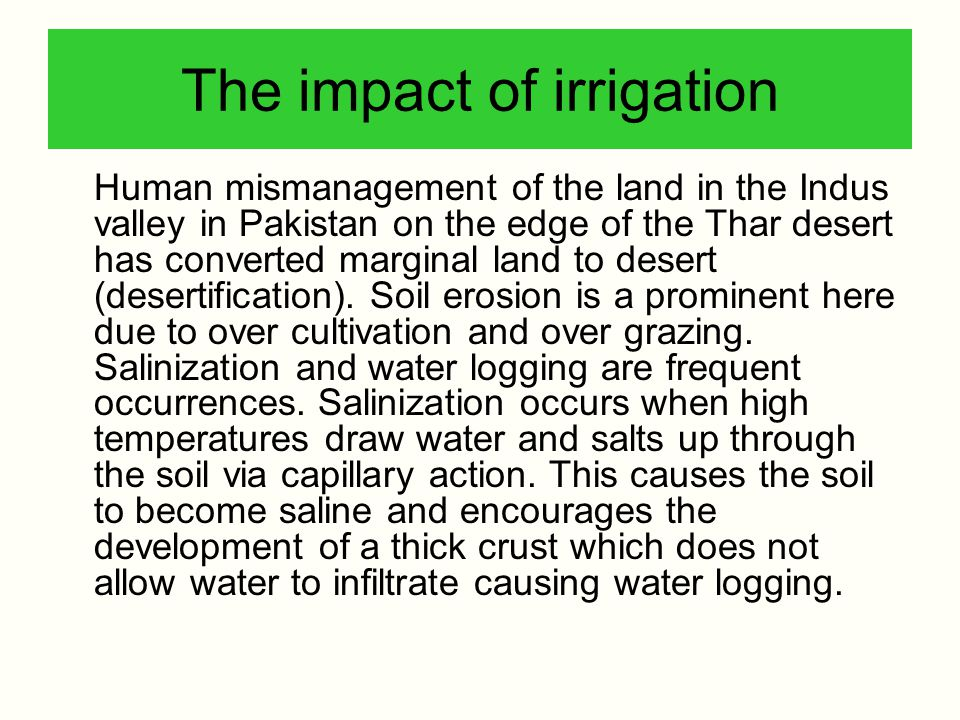The impact of irrigation