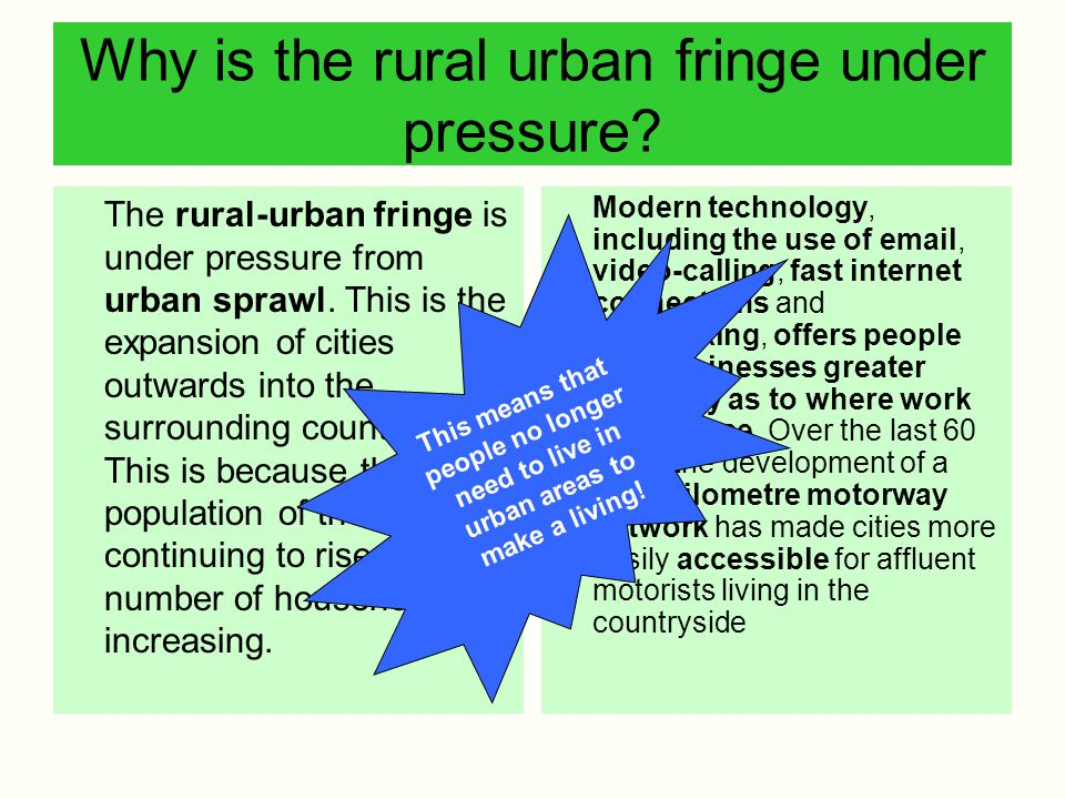 Why is the rural urban fringe under pressure