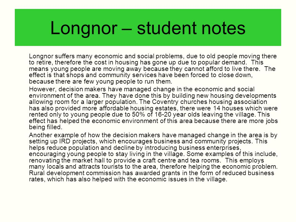 Longnor – student notes