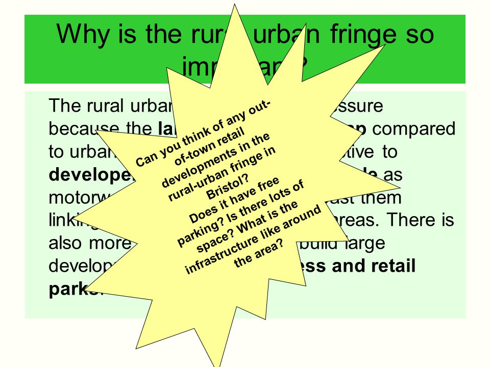 Why is the rural urban fringe so important