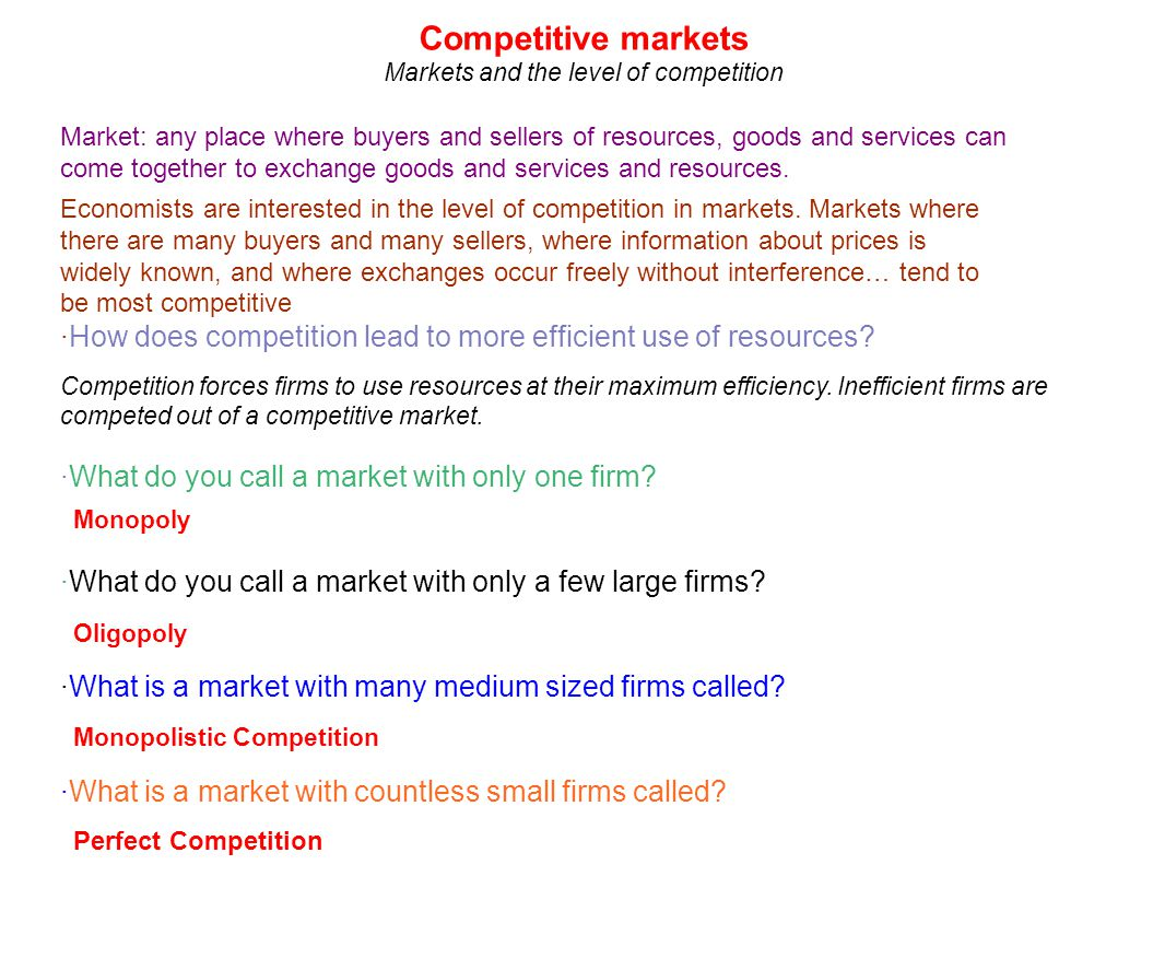 Markets and the level of competition