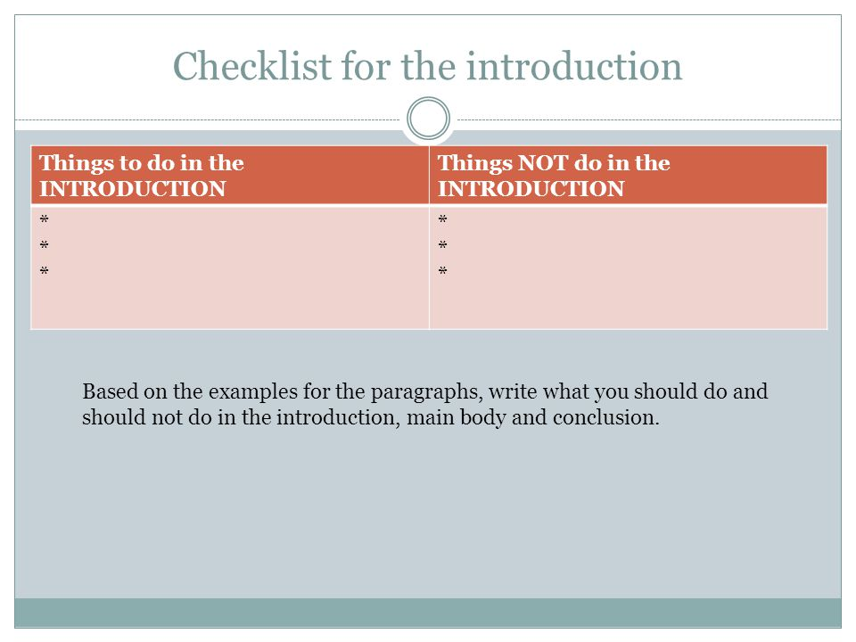 Checklist for the introduction