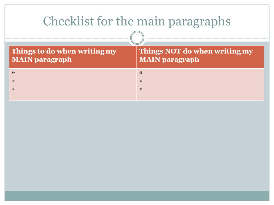 Checklist for the main paragraphs