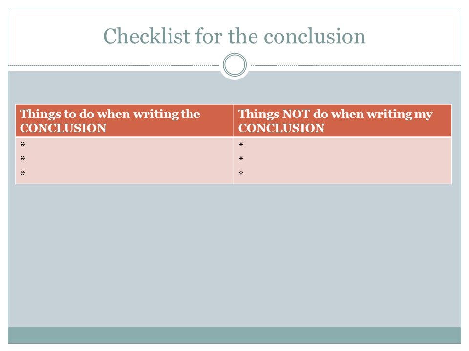 Checklist for the conclusion