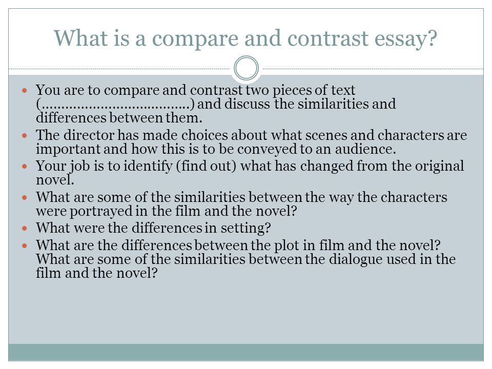 Essay in which you compare and contrast the influence of