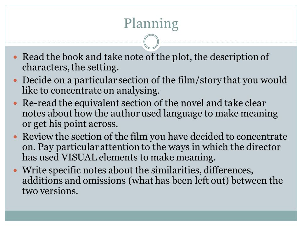 Planning Read the book and take note of the plot, the description of characters, the setting.