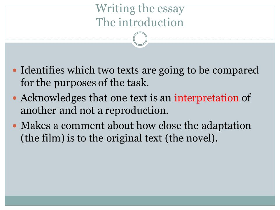write essay comparing two novels