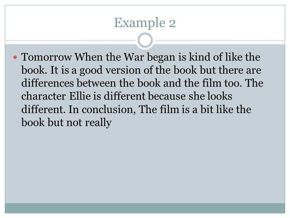 part writing a comparative essay ppt  7 example 2 tomorrow when the war began