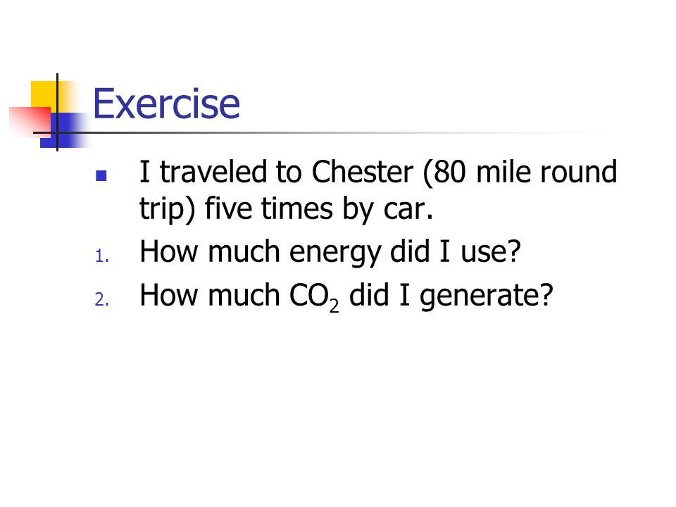 Exercise I traveled to Chester (80 mile round trip) five times by car.