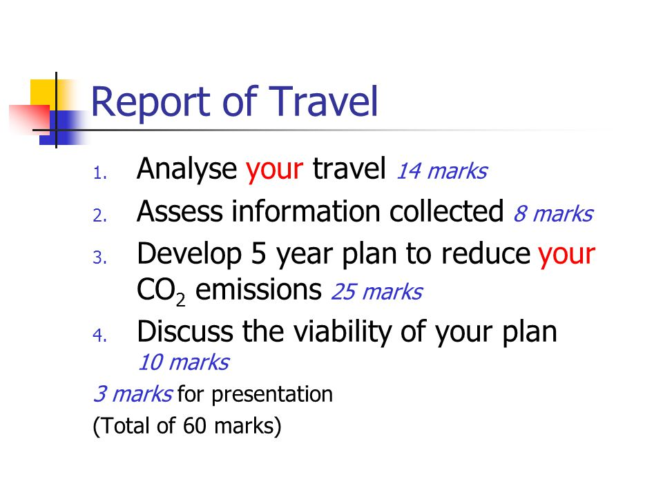 Report of Travel Analyse your travel 14 marks