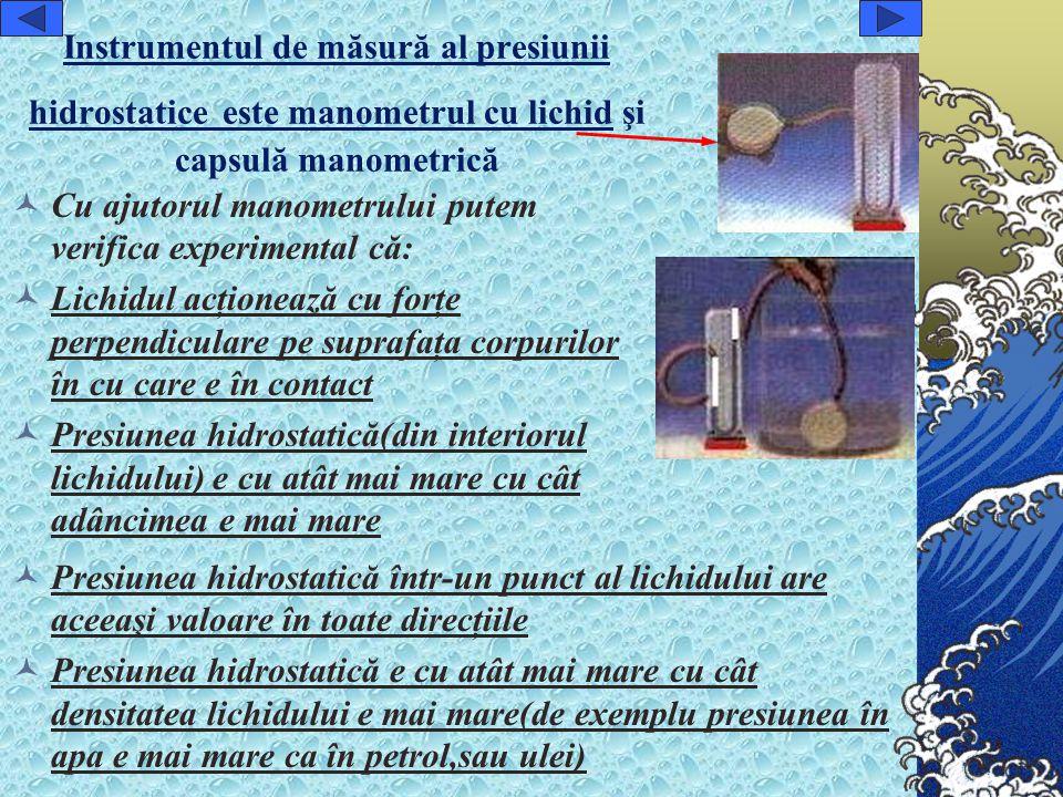 Instrumentul de măsură al presiunii hidrostatice este manometrul cu lichid şi capsulă manometrică
