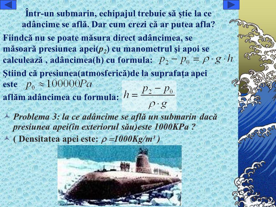 Într-un submarin, echipajul trebuie să ştie la ce adâncime se află