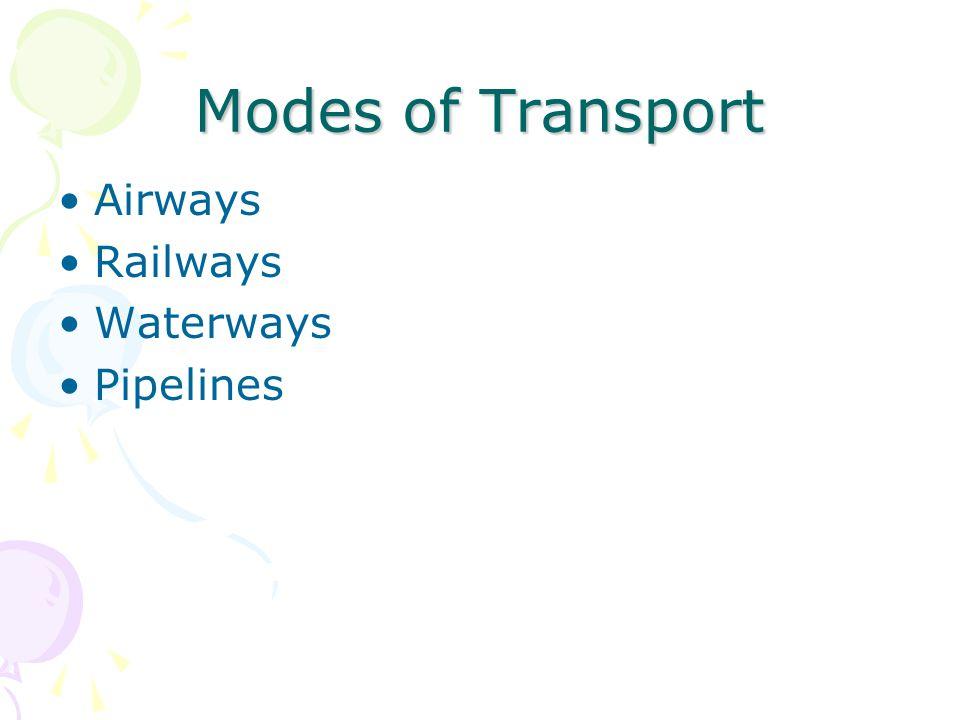 Modes of Transport Airways Railways Waterways Pipelines