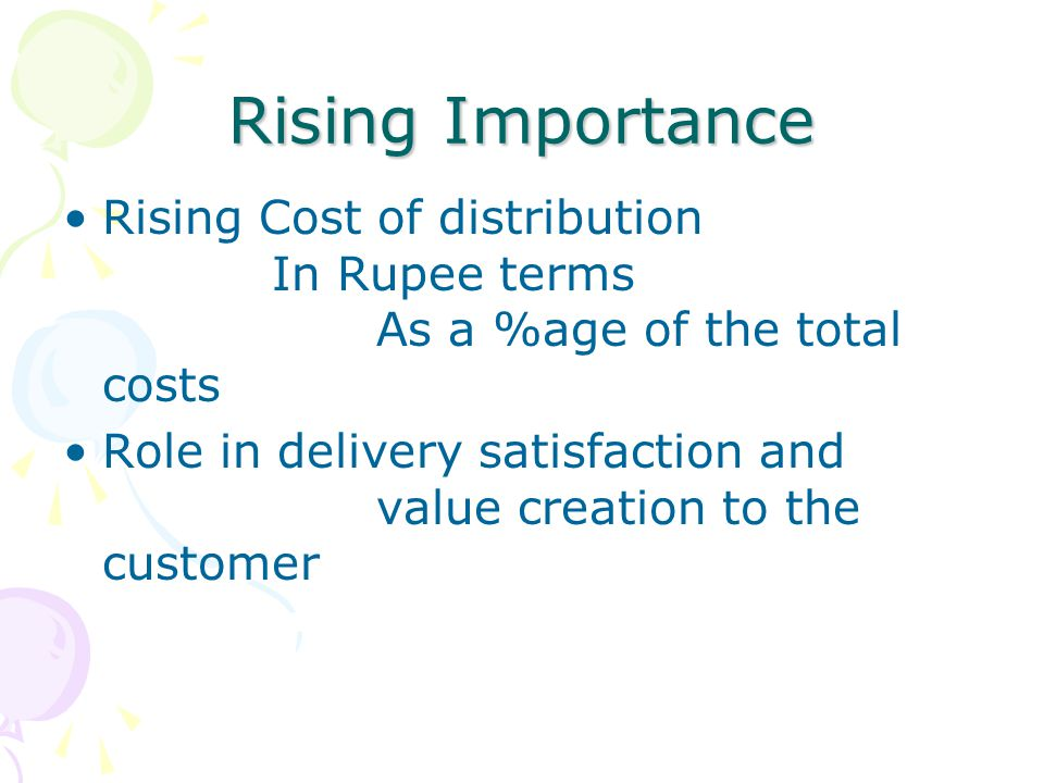 Rising Importance Rising Cost of distribution In Rupee terms As a %age of the total costs.
