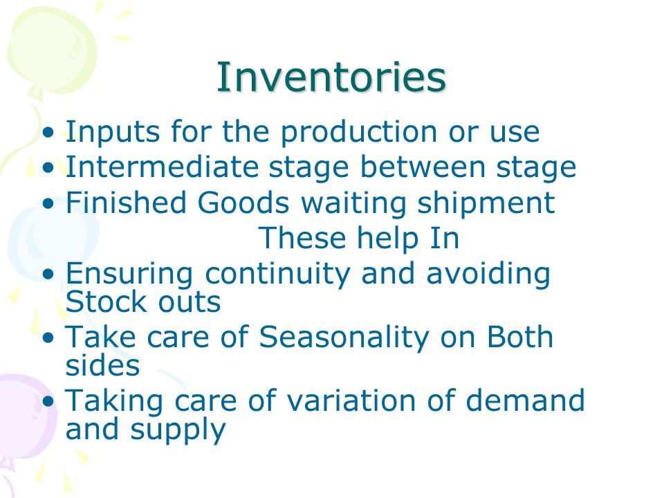 Inventories Inputs for the production or use