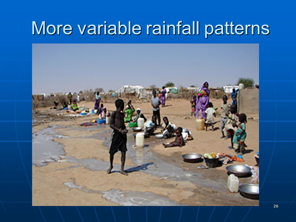 More variable rainfall patterns