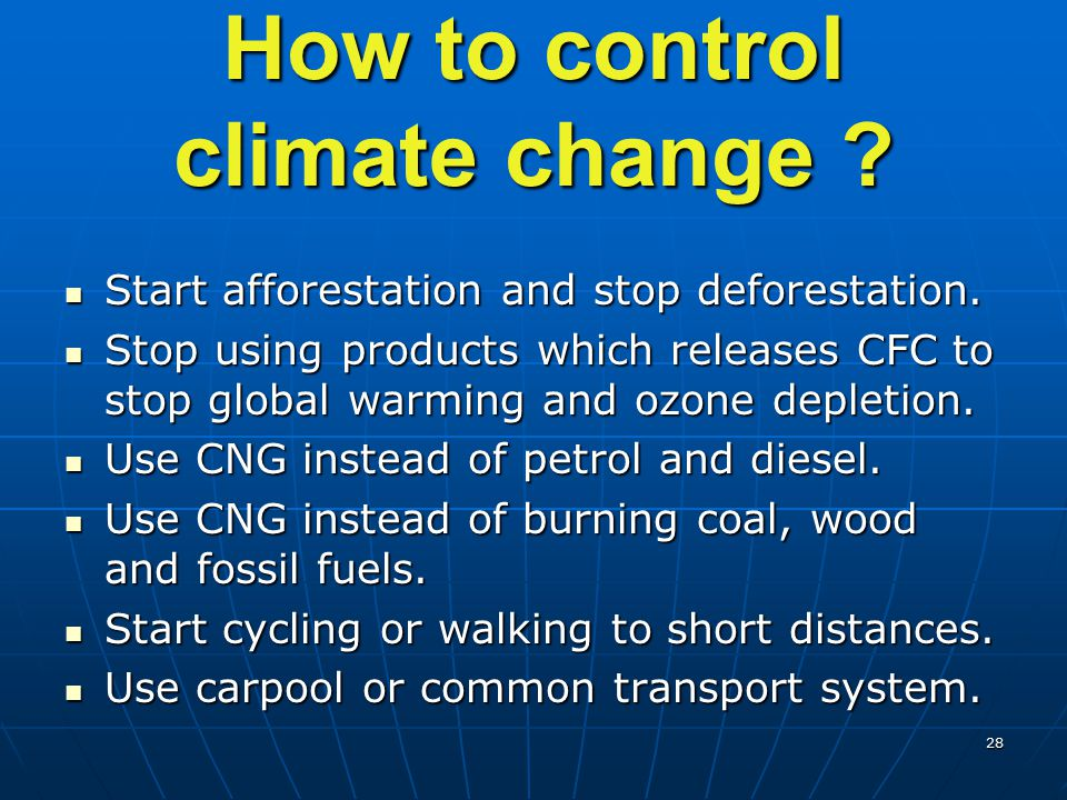 How to control climate change