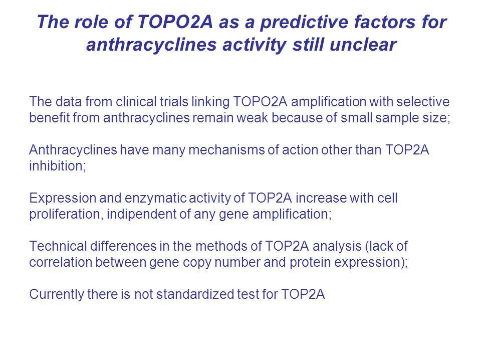The role of TOPO2A as a predictive factors for anthracyclines activity still unclear