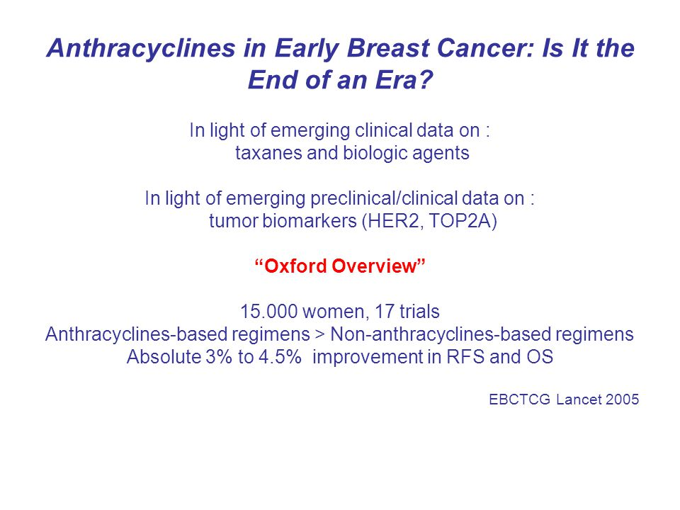 Anthracyclines in Early Breast Cancer: Is It the End of an Era