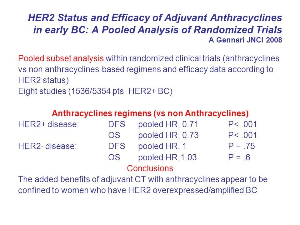 Anthracyclines regimens (vs non Anthracyclines)